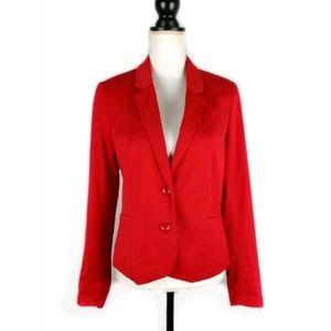 H&M red button front blazer 12